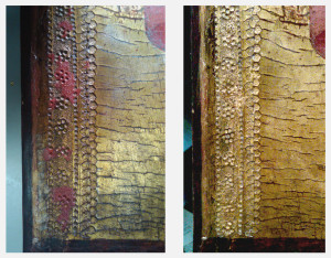 Left: Left edge after creating red wax fills.  Right: Left edge after gilding new fills.