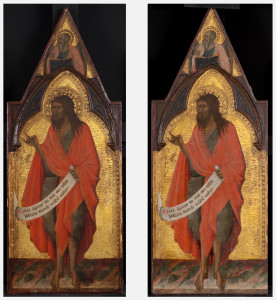 Left: Saint John the Baptist, follower of Pietro Lorenzetti, possibly Tegliacci, dated to before 1362, K1237, before treatment. Right: Saint John the Baptist, after treatment